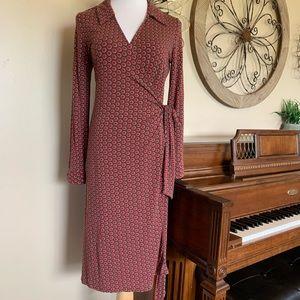 Boden Size US 12 Polka Dot Collared Wrap Dress